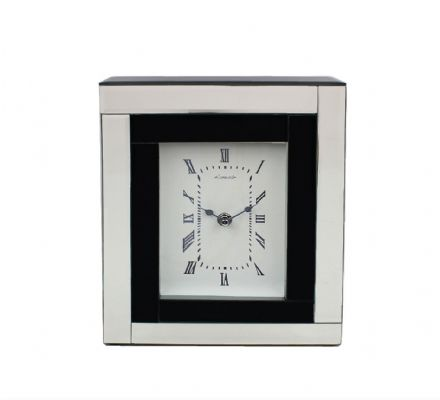 Leonardo Black Glass Mirror Mantel or Desk Clock